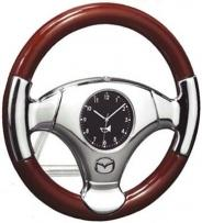 Steering Wheel Clock in Hi-gloss Wood Rim & Metal Chrome