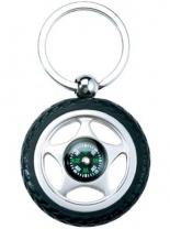 Rubber Metal Tire Key Chain With Compass