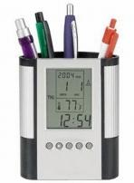 Pen Cup w/Digital Alarm Clock & Thermometer
