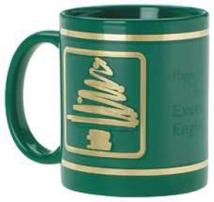 Green Ceramic Mug Stock Christmas Tree Design 11oz.