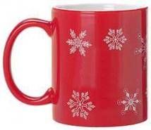 Red Ceramic Mug Stock Snow Flake Design 11oz.