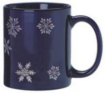 Blue Ceramic Mug Stock Snow Flake Design 11oz.