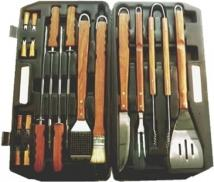 Elite BBQ Sets19 Pc. Bbq Set With Imitation Rosewood Handles
