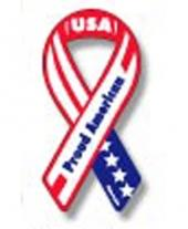 Proud American Ribbon Magnet 2 X 4.5 Inches