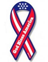 God Bless Ribbon Magnet 2 X 4.5 Inches