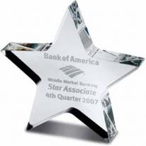 "1"" Clear Star Award Paperweight"