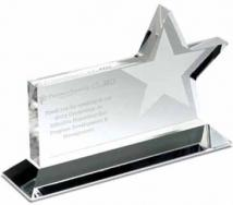 Clear Horizontal Star Award - Silkscreen