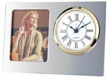Silver Finish Desk Clock/Built in Picture Frame
