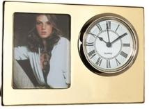 Gold Finish Desk Clock/Built in Picture Frame