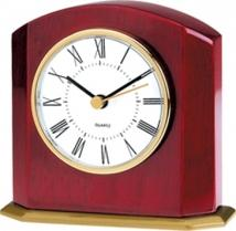 Wooden Desk Alarm Clock With Gold Accent