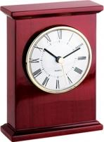 Wooden Finished Desk Alarm Clock With Gold Accents