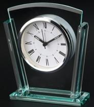 Glass Desk Clock With Silver Accents