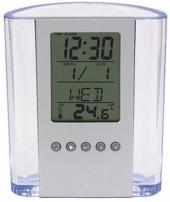 Clear Pen Cup w/Digital Alarm Clock & Thermometer