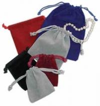 "Drawstring Velveteen Jewelry Pouch (3""x3"")"