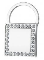 High Polish Metal Key Holder Square Shape W/ Crystal Accents