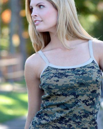 Camouflage Baby Doll Spaghetti Tank
