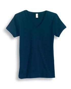 Ladies Short Sleeve Ring Spun 1x1 Rib Mitered V-Neck Tee