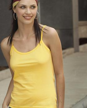 Ladies Spaghetti Strap Ring Spun Semi-Sheer Tank Top