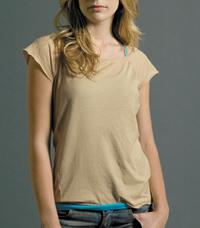 Ladies' Cap Sleeve Sheer Boat Neck