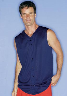 Mesh Sleeveless Button Front Baseball Shirt