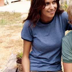 Ladies' Direct-Dyed Heather Ringer Tee