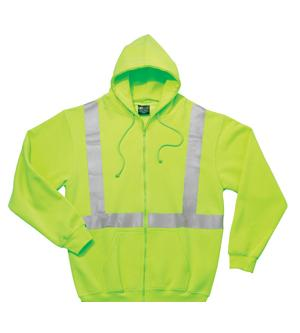 Adult Hi-Visibility Full Zip Hooded Sweatshirt