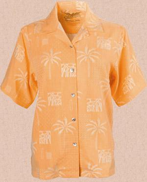 Ladies' Seaside Pigment Printed Silk Camp Shirt