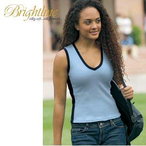 Ladies' V-Neck Sleeveless Collegiate Tee
