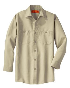 Long Sleeve Industrial Work Shirt- Light Tan