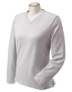 Ladies' Microfiber Stretch Fleece V-neck
