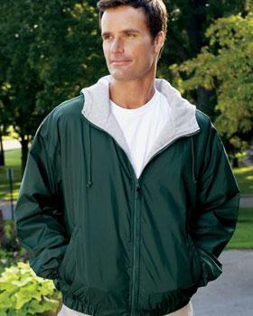 Full-Zip Nylon Hooded Jacket w/Fleece Lining