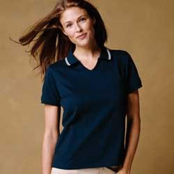 Ladies' Cotton Jersey Short-Sleeve Polo with Tipping