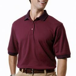Men's Cotton Interlock Short-Sleeve Polo with Jacquard Collar