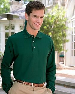 Long Sleeve Double Knit Pique Polo