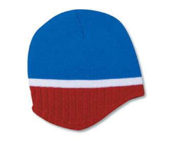Acrylic Knit Beanie with Trim and Fleece Lining