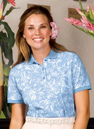 Ladies Silk Touch Hibiscus Print Sport Shirt