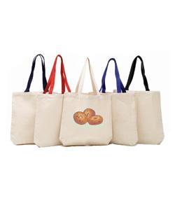 Promotional Tote Bag with Bottom Gusset Color Handle Natural Body