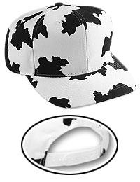 Cow Pattern Cotton Blend Twill Six Panel Mid Profile Style Baseball Cap