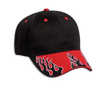 Flame Pattern Visor Brushed Cotton Twill Low Profile Pro Style Cap