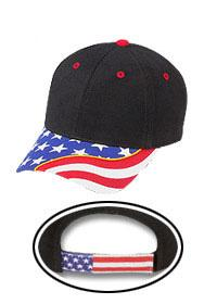 United States Flag With Yellow Ribbon Visor Superior Brushed Cotton Twill