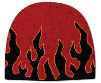 Flame Design Acrylic Knit 8 Beanie
