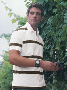 Men's Brushed Jersey Polo with Auto Stripe