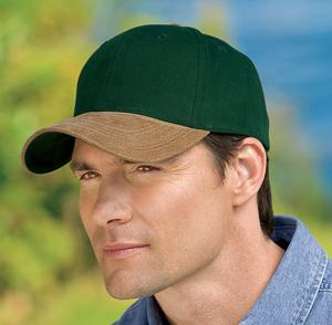 2-Tone Brushed Twill Cap with Suede Visor, Button and Closure