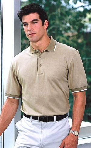 Twill Interlock Sport Shirt with Stripe Trim