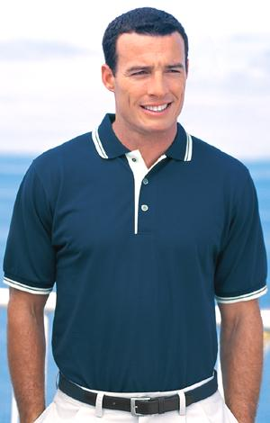Silk Touch Sport Shirt with Stripe Trim