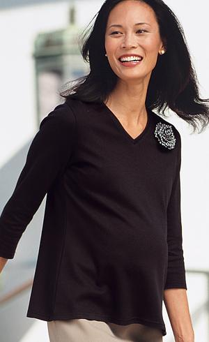Maternity 3/4 Sleeve V-Neck T-Shirt