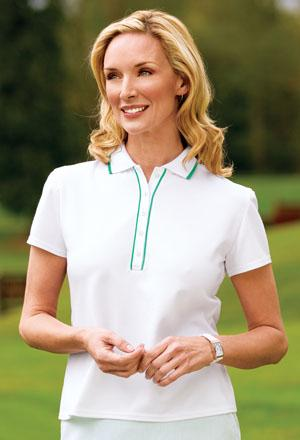 Signature� - Ladies Rapid Dry Framed Placket Pique Sport Shirt with Tipping Stripe