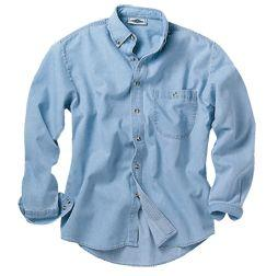 Men's Denim and Twill Long Sleeve Shirt