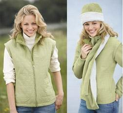 Ladies Quilted Jacket with Zip-off Sleeves