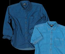 Mens 100% Cotton 6.5 oz. Denim Long Sleeve Shirt